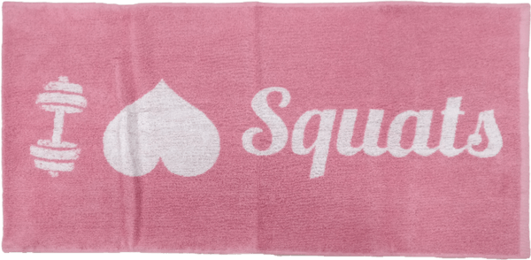 XXL Nutrition Gym Handtuch I Love Squats - Pink White