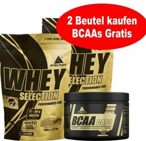 Peak Whey Selection 2x 1000g Beutel + Gratis BCAAs