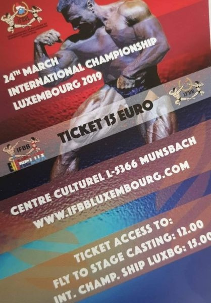 Ticket Fly To Stage Casting 2019 + IFBB Luxemburg Championship