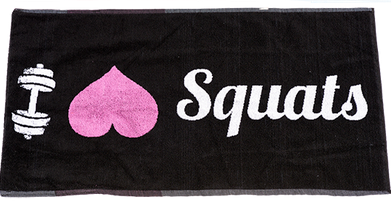 XXL Nutrition Gym Handtuch I Love Squats - Schwarz/Pink