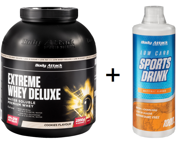 Body Attack Extreme Whey Deluxe - 2300g + Low Carb Sports Drink GRATIS