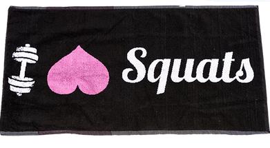 XXL Nutrition Gym Handtuch I Love Squats - Schwarz/Pink
