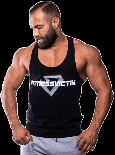Fitnessvictim Men Classic Crosshair Stringer - schwarz